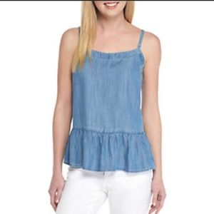 Crown & Ivy Chambray Flounce Hem Top NWT